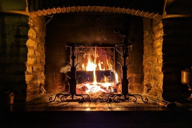 cosy fire during a winter in wales