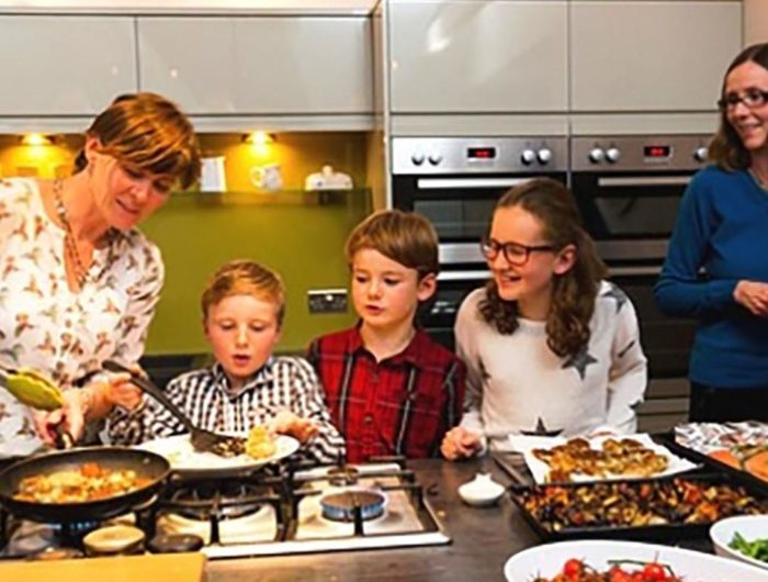 Cooking together in a self catering holiday cottage