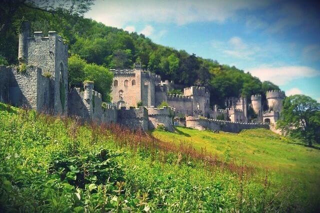 The ruins of Gwrych Castle in North Wales