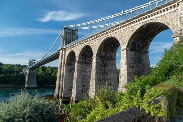 Menai Bridge and blue skies