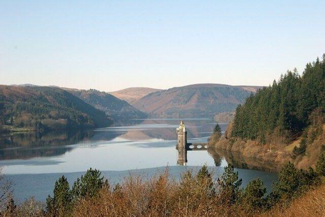 Views of a still Lake Vyrnwy, powys