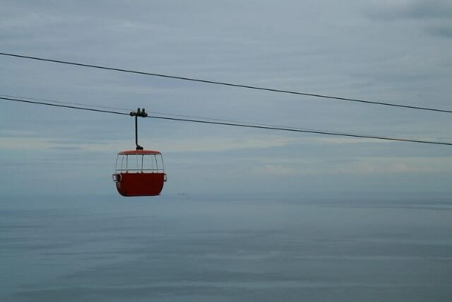 Llandudno Cable Car travelling up to the Great Orme