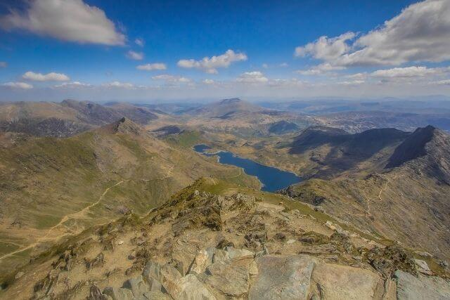 View of Snowdonia National Park from the summit of Snowdon