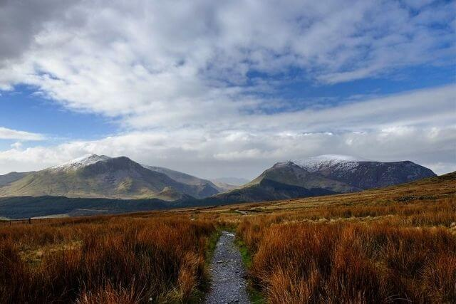 The Snowdon Ranger Path with mountains in the background