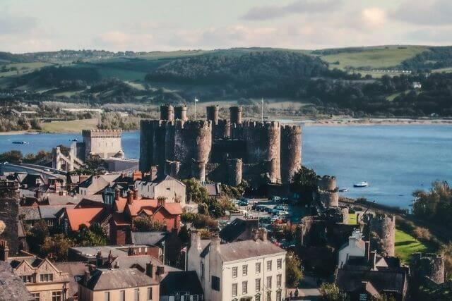 Arial view of conwy castle and conwy harbour
