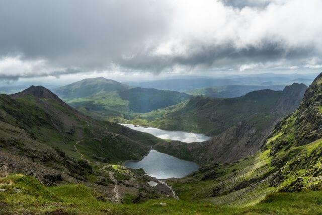 Views of Glaslyn and Llyn Llydaw from the summit of Snowdon