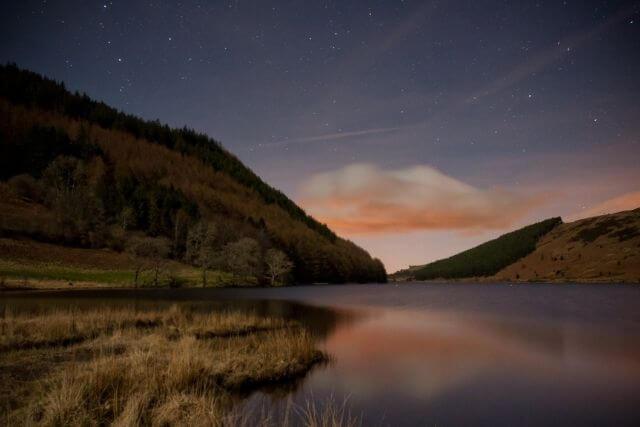 Llyn Geirionydd on a dark winters night