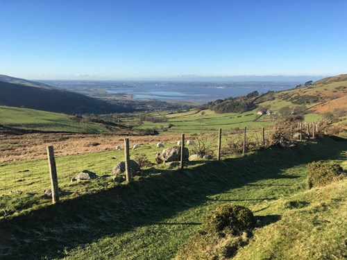 View looking down to Llanfairfechan from the foothills of the Carneddau Mountains